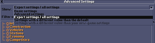 Changing the complexity (amount) of displayed settings