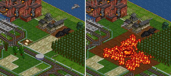 대형 UFO가 플레이어의 선로에 착륙하여 전투기가 이를 파괴하는 모습