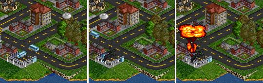 소형 UFO가 플레이어의 차량을 고장내고 파괴하는 모습