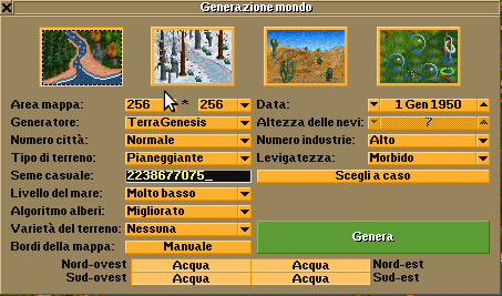 World Generation dialog